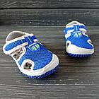 Сандалии с защитой носка мальчикам, р. 23, 27, 28, 30. Синие, текстильные, закрытые босоножки, фото 3