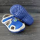 Сандалии с защитой носка мальчикам, р. 23, 27, 28, 30. Синие, текстильные, закрытые босоножки, фото 4
