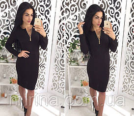 Темно-серое ангоровое платье с молнией Lorry (код 094)