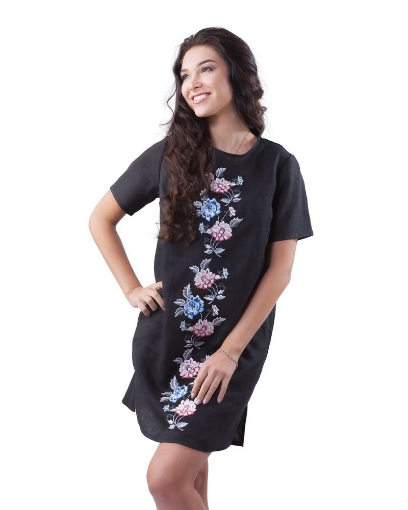 Короткое платье-вышиванка. 100% лен Размеры от XS до 2XL