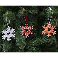 """Новогодняя подвеска на елку """"Снежинка"""" NG276, 8*8 см, MDF, Новогодние сувениры, Украшения новогодние, Игрушки на елку"""