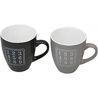 """Чашка керамическая для напитков """"Numeral"""" CB672, размер 11х9 см, объем 380 мл, 4 вида, в коробке, чашка для чая, посуда для чая"""