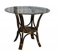Плетенный обеденный стол 2207 натуральный ротанг + стекло King of Rotang олива