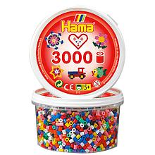 Набор цветных бусин Hama 3000 шт 10 цветов