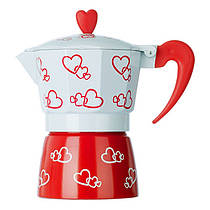 Гейзерная кофеварка, маленькая, с сердечками R16593