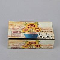 """Шкатулка стеклянная для украшений """"Sunflower"""" CT036, размер 5х16х9 см, в подарочной упаковке, шкатулка под бижутерию, шкатулка из стекла"""