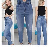 """Джинсы-момы женские укороченные с воротником, размеры 34-40 """"Jeans Style"""" недорого оптом от прямого поставщика"""