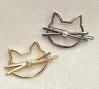 Заколка для волос Котик с бусинкой (цвет серебро или золото), фото 1
