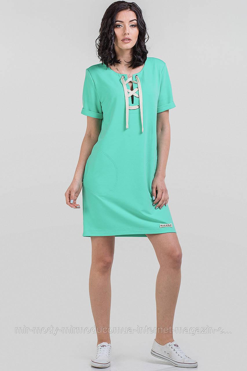 Повседневное спортивное платье мятного цвета  (4 цвета) с 42 по 50 размер  (влн)