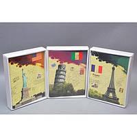 """Фотоальбом картонный для фотографий """"Sights"""" AB8006, размер 25х19х4 см, на 25 листов, 3 вида, в комплекте клеящиеся уголки, альбом для фото,"""