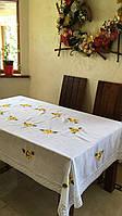 """Скатертина біла лляна """"Соняшна"""" на прямокутний стіл ручна вишивка 220*140 см, фото 1"""