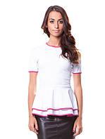 Нежная женская футболка с баской (XS-XL)