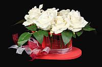 """Кашпо для цветов """"Heart"""", длина 28 см, ширина 22 см, высота 12.5 см, материал дерево, 15 стеклянных колб, цвет красный, горшок для цветов, кашпо для"""