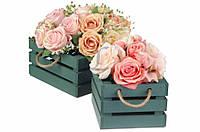 (Цена за 2шт) Комплект кашпо, размер L - 22*22*11.5 см, размер M - 16*16*11.5 см, материал дерево/ДВП, цвет зеленый, горшок для цветов, кашпо для