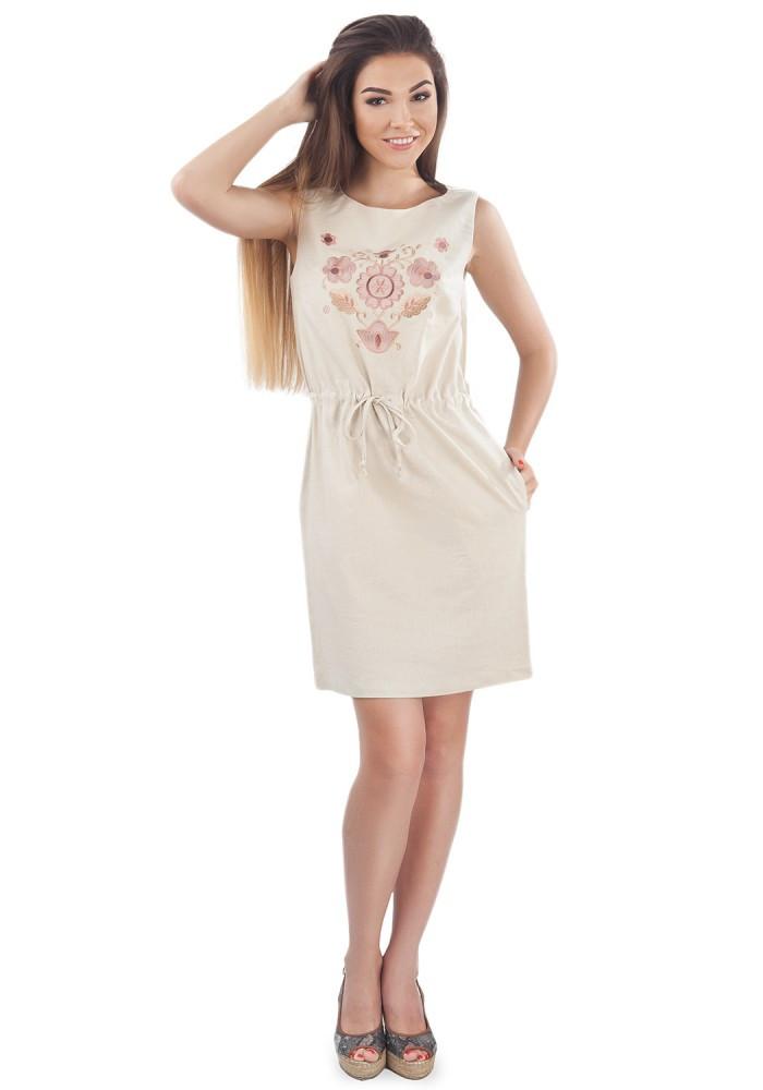 Бежевое Платье-Вышиванка. 100% лён