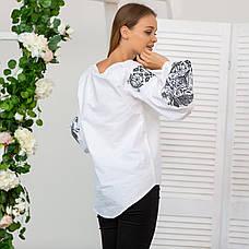 Жіноча вишита блузка Жар Птиця (біла з сірою вишивкою), фото 3