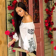Женская вышитая блузка Жар Птица (белая с серой вышивкой), фото 2