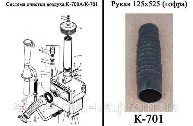 Рукав 125х525 гофра двигателя ЯМЗ-240 трактора Кировец К-701