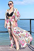 Пляжная женская туника в пол в большом размере