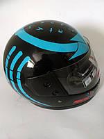 Шлем для скутера  черный глянцевый PREDATORS  (синие стрелы и когти, серия Чужой), размер S(55-56)