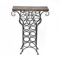 "Столик винный для хранения напитков ""Winewood"" HX12586, размер 87х60х21 см, металл / дерево, стол для хранения вина, подставка для вина"