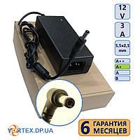 Блок питания 5,5-2,5 3A 12V класс A+ (кабель питания в подарок) нов