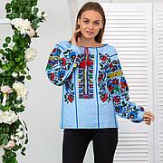Мальва блуза с вышивкой женская голубого цвета