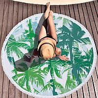Пляжный коврик круглый микрофибра / полотенце махровое на пляж / покрывало пляжное Пальмы диаметр 150 см