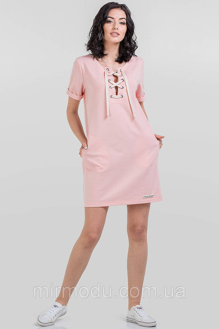 Повседневное спортивное платье цвета пудра (4 цвета) с 42 по 50 размер  (влн)