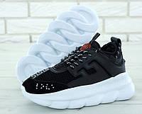 Кроссовки Versace Chain Reaction мужские, черно-белые, в стиле Версаче Чейн Реакшн, замша, код KD-11700.