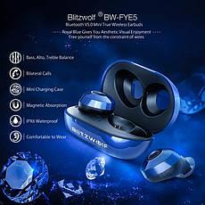 Бездротові водонепроникні навушники з мікрофоном магнітні (гарнітура) Blitzwolf BW-FYE5 Blue, фото 2