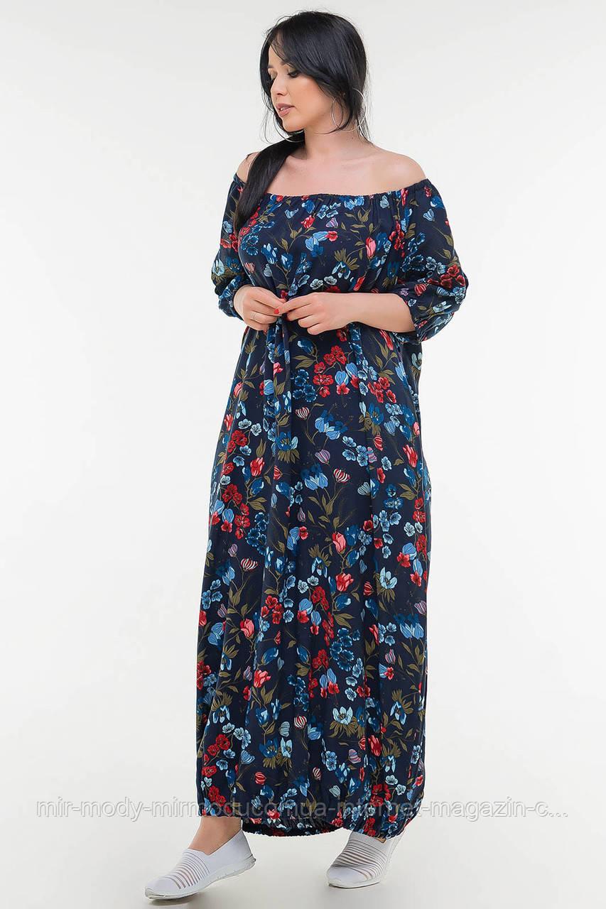Летнее платье мешок синий цветочный принт цвета с 50 по 56 размер  (влн)