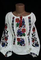 """Красивенькая вышиванка """"Традиция"""" подростковая 128-164,домотканном полотно, мережка"""