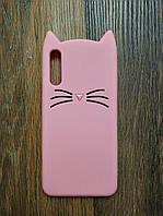 Объемный 3d чехол для Samsung A50 2019 Galaxy A505f Усатый кот розовый