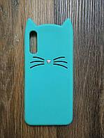 Объемный 3d силиконовый чехол для Samsung A50 2019 Galaxy A505f Усатый кот зеленый