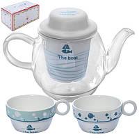 Стеклянный заварник для чая, трав и горячих напитков, чайник с ситом и чашками, R85628
