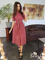 Льняное платье в горошек с пышной юбкой, разные цвета Бордо