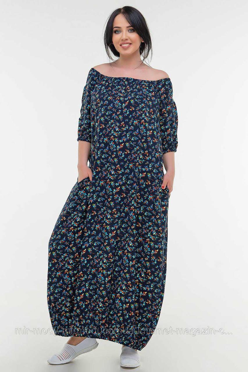 Летнее платье мешок синий цветочный мелкий принт  с 50 по 56 размер  (влн)