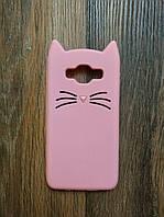 Объемный 3d силиконовый чехол для Samsung J5 Galaxy J500 J510 Усатый кот розовый