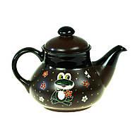 """Глиняный чайник заварочный """"Лягушонок с цветами"""" 1л"""