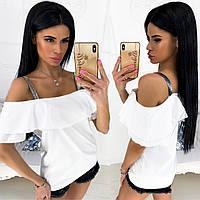 Блуза женская с вырезом Анжелика (4 цвета) - Белый АА/-1249, фото 1