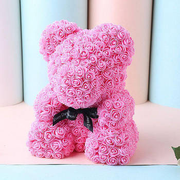 [ОПТ] Ведмедик з 3D троянд 40см в Коробці (Рожевий)