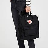 Стильный рюкзак сумка Fjallraven Kanken Classic канкен классик с отделением для ноутбука Черный + подарок, фото 5