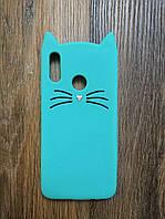 Объемный 3d силиконовый чехол для Huawei Honor 10 Lite Усатый кот зеленый