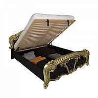 Двоспальне ліжко 160х200 з підйомним механізмом у спальню Реджина Чорний Глянець - Золото Міромарк