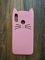 Объемный 3d чехол для Huawei Honor 10 Lite Усатый кот розовый