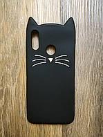 Объемный 3d силиконовый чехол для Huawei Honor 10 Lite Усатый кот черный