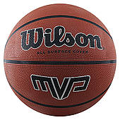 Мяч баскетбольный Wilson MVP размер 6 резиновый для улицы-зала коричневый (WTB1418XB06)
