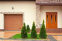 """Гаражні секційні ворота ALUTECH TREND Розмір 3625х2375 мм. Колір """"DARK OAK"""" (темний дуб) панель М-гофр, фото 1"""