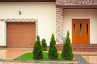 """Гаражні секційні ворота ALUTECH TREND Розмір 4750х2750 мм. Колір """"DARK OAK"""" (темний дуб) панель М-гофр, фото 1"""